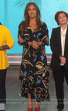 Carrie's black floral wrap dress on The Talk