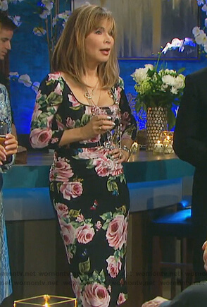 Kate's black rose print midi dress on Days of our Lives