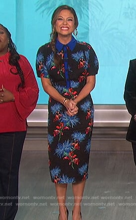 Vanessa Lachey's black floral polo dress on The Talk