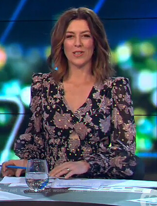 Gorgi's black floral smocked dress on The Project