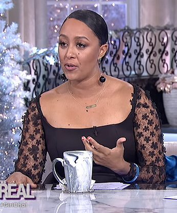Tamera's black floral sleeve dress on The Real