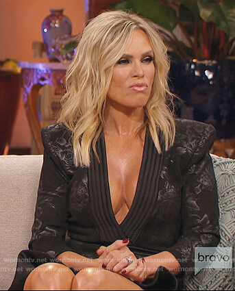 Tamra's black floral deep v-neck dress on The Real Housewives of Orange County