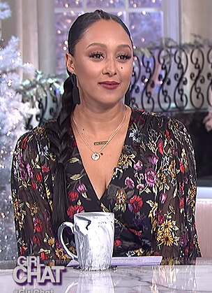 Tamera's black floral wrap top on The Real