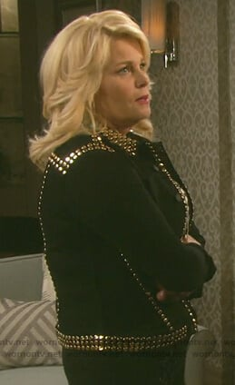 Bonnie's black gold studded jacket on Days of our Lives