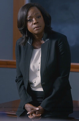 Annalise's black leather trim blazer on How to Get Away with Murder