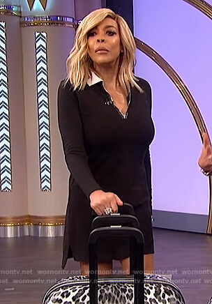Wendy's black long sleeve polo dress on The Wendy Williams Show