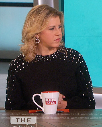 Jodie Sweetin's black pearl embellished sweater on The Talk