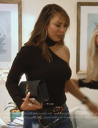 Kelly's black one sleeve top on The Real Housewives of Orange County