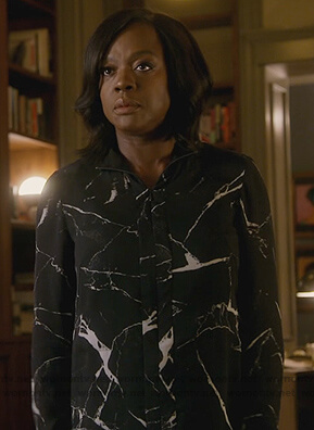 Annalise's black marble print silk blouse on How to Get Away with Murder
