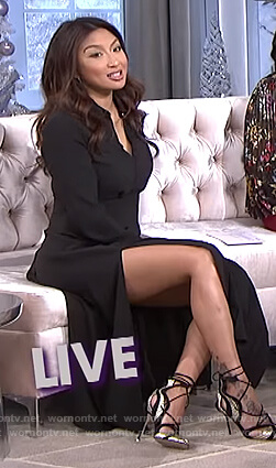 Jeannie's black shirtdress with slits on The Real
