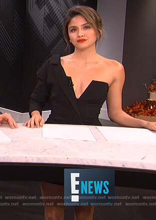 Erin's black one sleeve mini dress on E! News