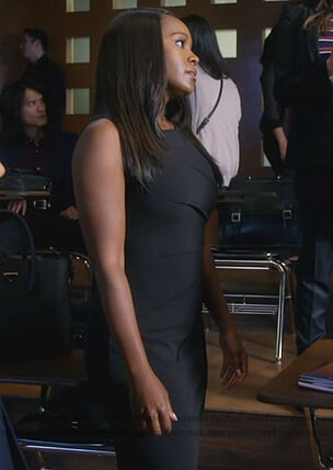 Michaela's black gathered sheath dress on How to Get Away with Murder