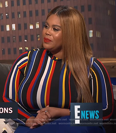 Nina's multicolored striped top on E! News Nightly