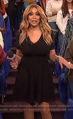 Wendy's black eyelet trim flare dress on The Wendy Williams Show