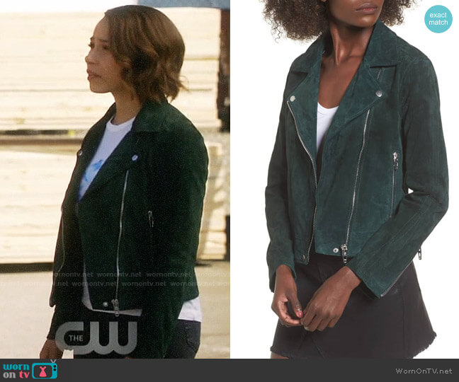 Nora's green suede jacket on The Flash