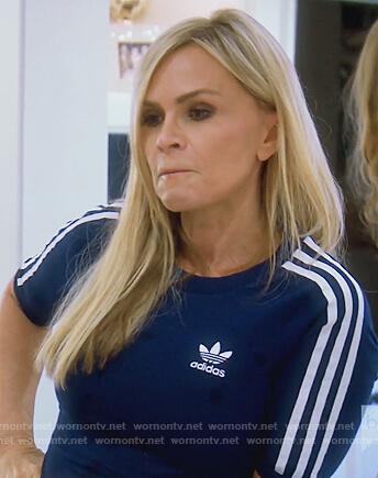 Tamra's blue Adidas striped dress on The Real Housewives of Orange County