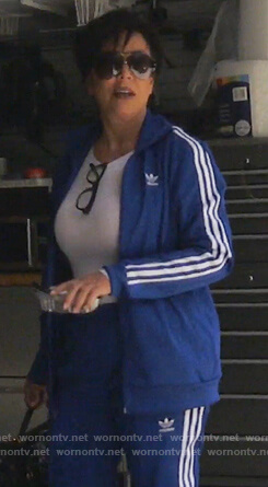 Kris's blue Adidas track jacket and pants on Keeping Up with the Kardashians