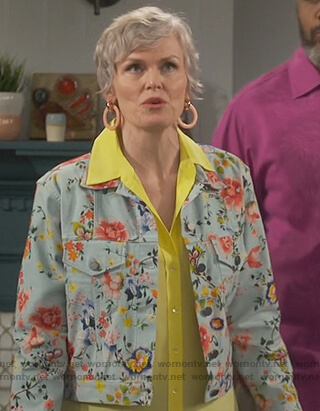 Bonnie's floral print denim jacket on Happy Together