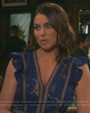 Chloe's blue lace ruffle dress on Days of Our Lives