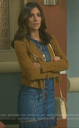 Gabi's blue lace-up dress and suede jacket on Days of Our Lives