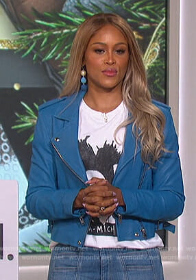Eve's blue moto jacket on The Talk