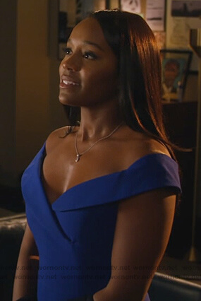 Michaela's blue off shoulder dress on How to Get Away with Murder