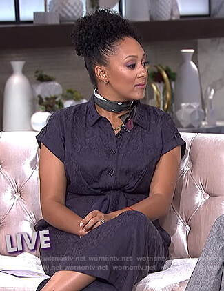 Tamera's blue tie front jumpsuit on The Real