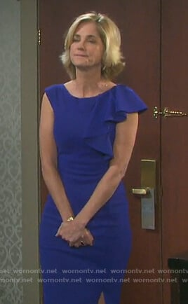 Eve's blue ruffle shoulder sheath dress on Days of Our Lives