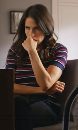 Laurel's blue striped ribbed tee on How to Get Away with Murder