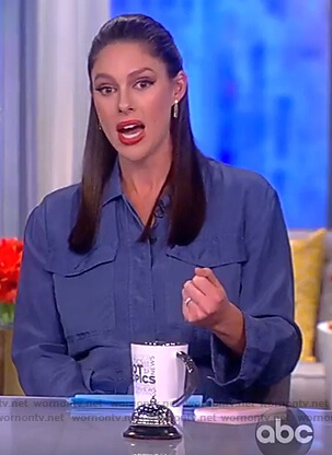 Abby's blue utility jumpsuit on The View