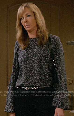 Bonnie's leopard print blouse on Mom