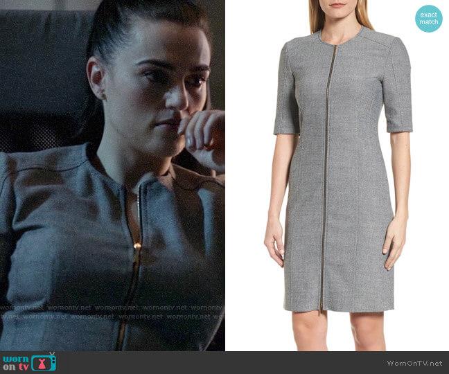 BOSS Demirana Front Zip Sheath Dress worn by Lena Luthor (Katie McGrath) on Supergirl