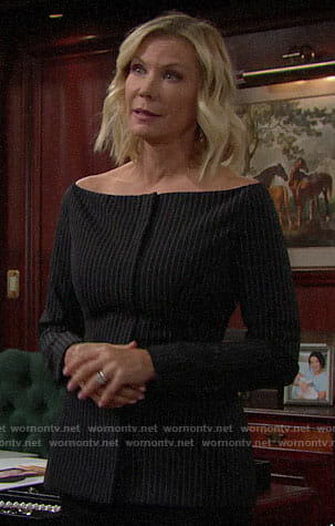 Brooke's pinstriped off-shoulder jacket on The Bold and the Beautiful