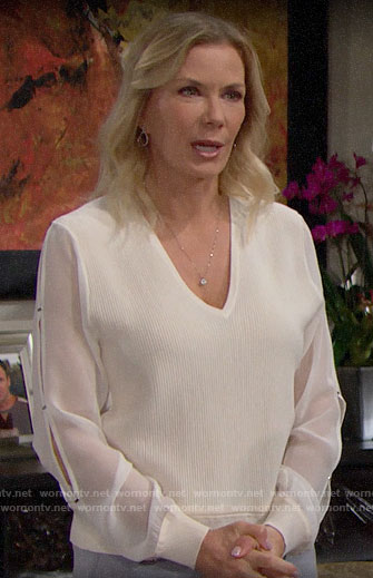 Brooke's white sweater with sheer sleeves on The Bold and the Beautiful