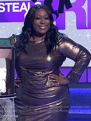 Loni's bronze metallic sheath dress on The Real