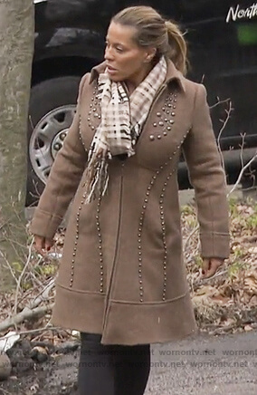 Dolores's brown studded coat on The Real Housewives of New Jersey