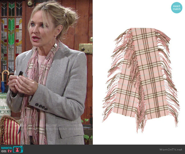 Burberry Cashmere Happy Scarf worn by Sharon Collins (Sharon Case) on The Young & the Restless