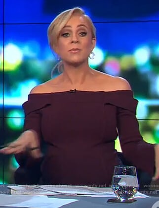 Carrie's burgundy off shoulder top on The Project