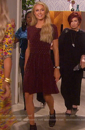 Paris Hilton's burgundy studded dress on The Talk