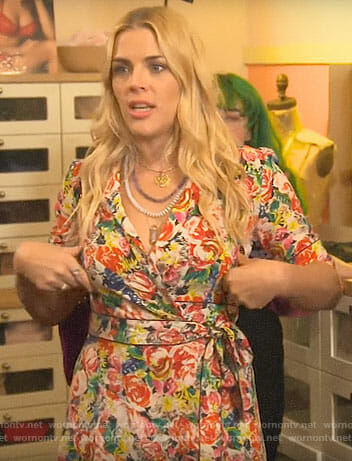 Busy's floral wrap dress on Busy Tonight