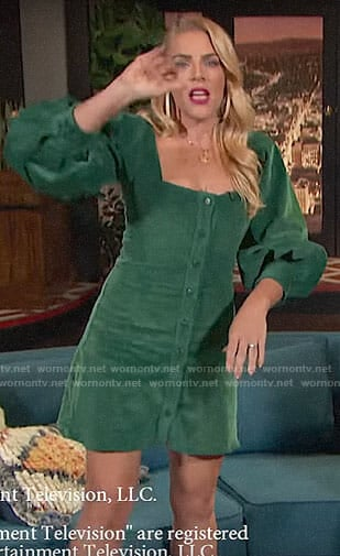 Busy's green corduroy dress on Busy Tonight