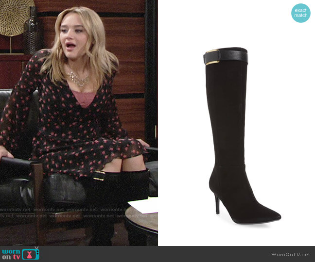 Calvin Klein Glydia Stiletto Knee High Boot worn by Summer Newman (Hunter King) on The Young & the Restless