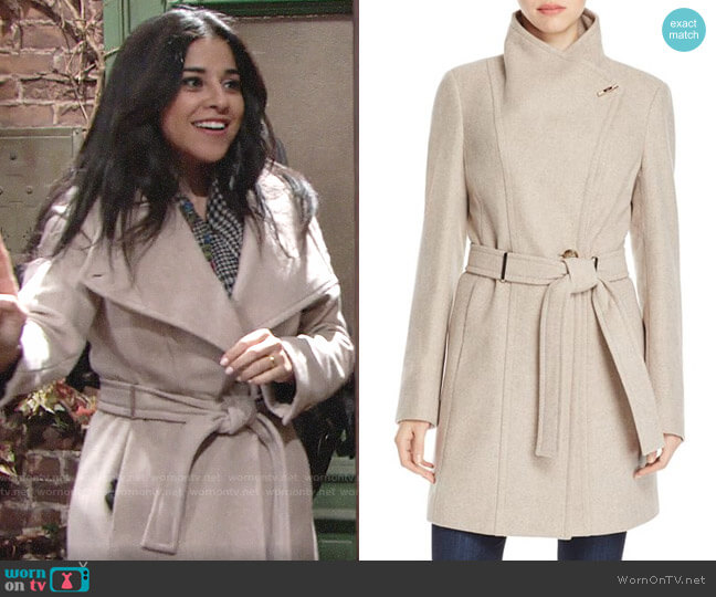 Calvin Klein Toggle Wrap Coat worn by Noemi Gonzalez on The Young & the Restless