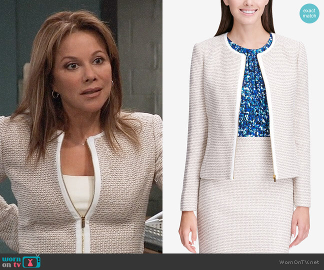 Calvin Klein Tweed Zip Up Jacket worn by Alexis Davis (Nancy Lee Grahn) on General Hospital