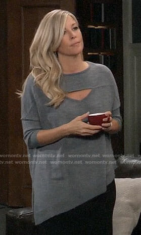 Carly's grey asymmetric cutout sweater on General Hospital