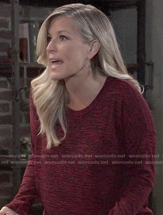 Carly's red heathered top on General Hospital