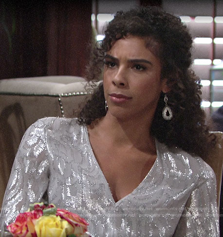 Kerry's metallic blouse on The Young and the Restless