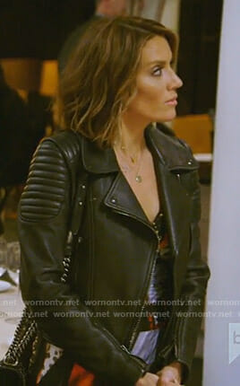 Cary's black moto jacket on The Real Housewives of Dallas