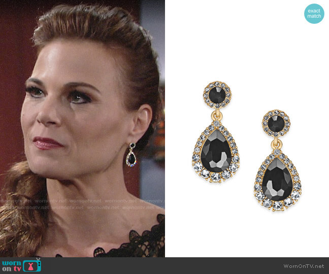 Chater Club Gold-Tone Crystal & Stone Drop Earrings worn by Phyllis Newman (Gina Tognoni) on The Young & the Restless