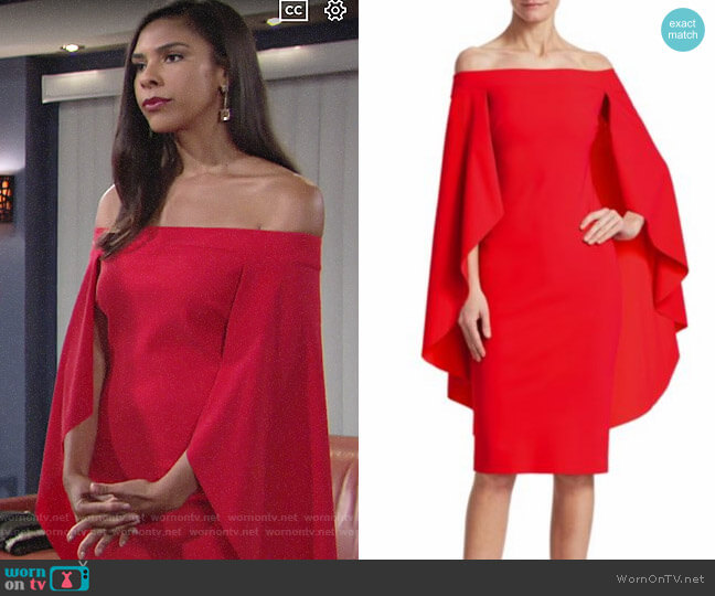Chiara Boni La Petite Robe Off-The-Shoulder Cape Dress worn by Kerry Johnson (Alice Hunter) on The Young & the Restless